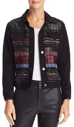 Ramy Brook Landon Tweed-Paneled Denim Jacket