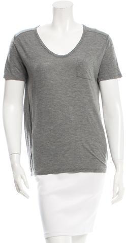 Alexander WangT by Alexander Wang Scoop Neck Pocket T-Shirt