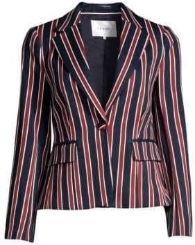Frame Women's Stripe Shrunken Blazer - Navy Multi - Size 0