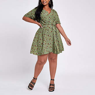 River Island Womens Plus Green floral tie waist skater dress