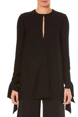 Carolina Herrera Keyhole-Front Long-Sleeve Tie-Cuffs Blouse