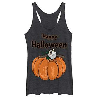 Star Wars Black PORG on a Pumpkin Junior's Racerback Tank