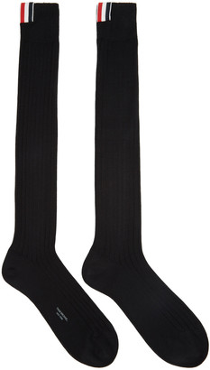Thom Browne Black Ribbed Knee-High Socks $80 thestylecure.com