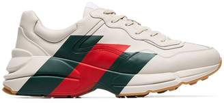 Gucci mystic white Rhyton three stripe leather sneakers