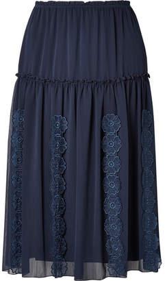 See by Chloe Appliquéd Tiered Crepe Skirt - Navy