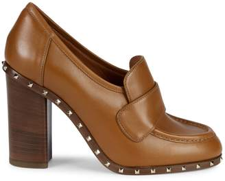 Valentino Studded Leather Block Heel Loafers