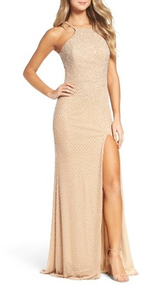 Women's La Femme Beaded Column Gown $502 thestylecure.com