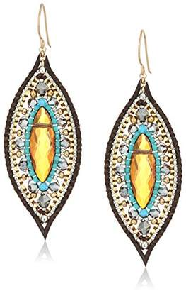 At Miguel Ases Topaz Quartz Leather Enclosed Marquise Turquoise Accented Drop Earrings