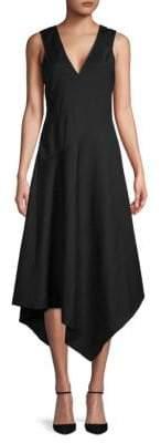 Derek Lam Asymmetrical Hem V-Neck Dress