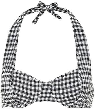 Solid & Striped Lana gingham halterneck bikini top