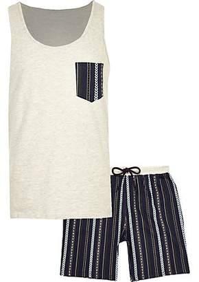 River Island Ecru aztec shorts pyjama set