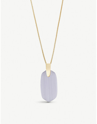 Kendra Scott Inez 14ct yellow gold-plated and slate cats eye necklace