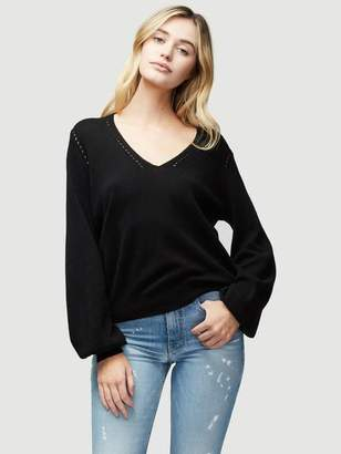 Frame Sustainable Cashmere Pointelle V Neck Sweater