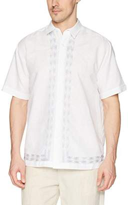 Cubavera Men's Short Sleeve Linen-Blend L-Shape Embroidered Button-Down Shirt