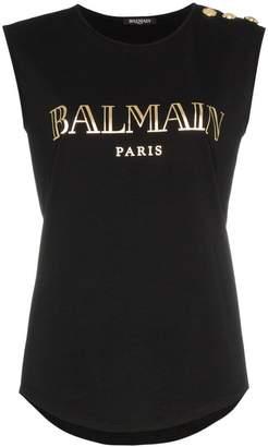 Balmain sleeveless logo-print T-shirt