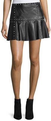 Parker Cyrus Studded Leather Flounce Mini Skirt $395 thestylecure.com