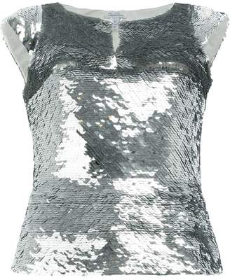 Oscar de la Renta sequin embroidered blouse