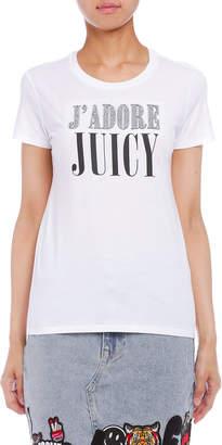 Juicy Couture (ジューシー クチュール) - Juicy Couture J'ADORE JUICY ビジュー&プリント 半袖Tシャツ ホワイト xs