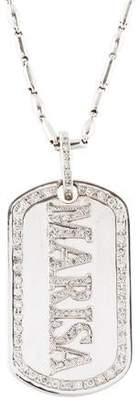 14K Diamond 'MARISA' Dog Tag Pendant Necklace
