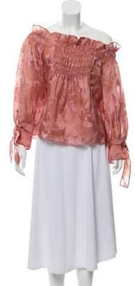 Rebecca Taylor Silk-Blend Off-the-Shoulder Blouse