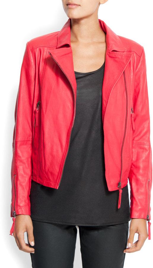 Asymmetric leather jacket
