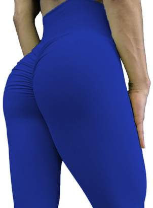 CROSS1946 Women's High Waist Back Ruched Legging Butt Lift Yoga Pants M