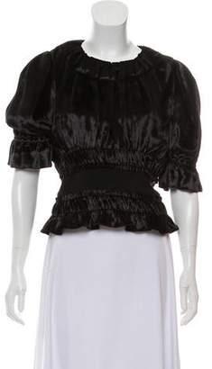 Brock Collection Short Sleeve Velvet Top