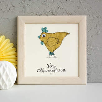 Zoe Gibbons Personalised Chicken Embroidered Framed Artwork