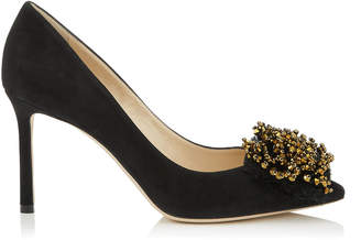Jimmy Choo THELMA 85 Black Suede Heels with Antique Gold Crystal Embroidery