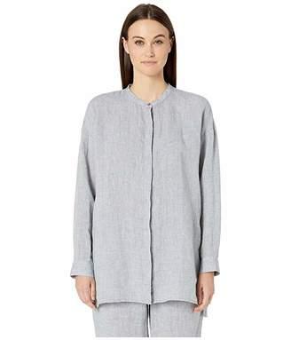 Eileen Fisher Yarn-Dyed Handkerchief Organic Linen Mandarin Collar Boxy Shirt
