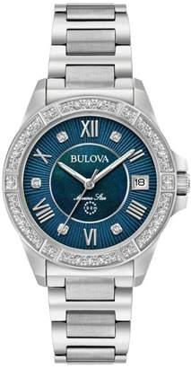 Bulova Marine Star 96R215 Stainless Steel & Diamond 32mm Womens Watch