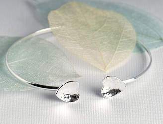 Grace & Valour Hammered Heart Bangle On A Personalised Gift Card
