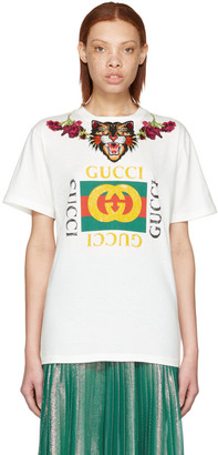 Gucci White 'Loved' Angry Cat Logo T-Shirt $990 thestylecure.com