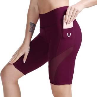 eb7ec7fbd5 ABS by Allen Schwartz FIRM Womens High Waist Out Pockets Yoga Shorts for  Workout,Running