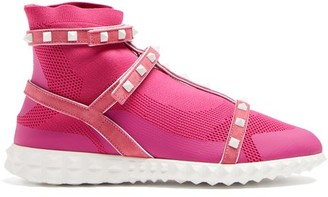 Valentino Free Rockstud Body Tech High Top Trainers - Womens - Pink White