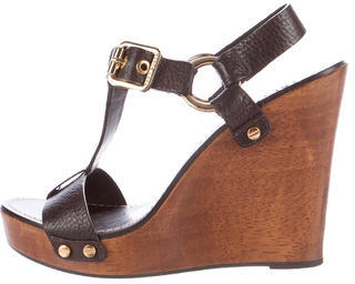 Tory Burch Tory Burch Leather T-Strap Wedge Sandals