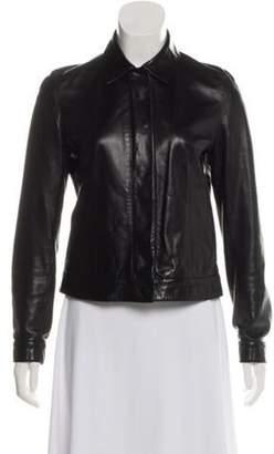 Donna Karan Point-Collar Leather Jacket Black Point-Collar Leather Jacket