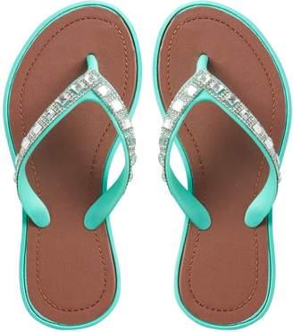 173943a640be ... Gilrls 4-16 Rhinestone Jelly Flip Flops