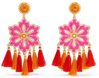 Mercedes Salazar Hibiscus Rosa Tasseled Gold-plated Clip Earrings - Orange