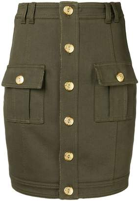 Balmain buttoned denim style skirt