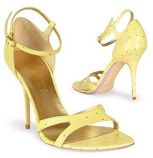 Forzieri Pale Yellow Ostrich Leather Sandal Shoes