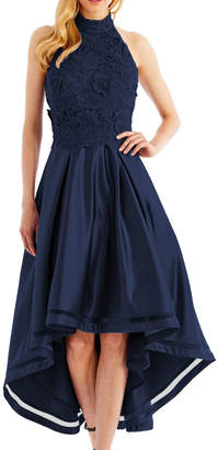 Nicole Miller New York High-Low Cocktail Dress with 3D-Lace Bodice, Navy