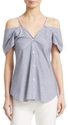 Theory Women's Hartman Stripe Off-Shoulder Top - Black White - Size XS