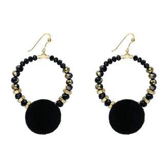 Iris Black Pom Pom Hoop Earrings