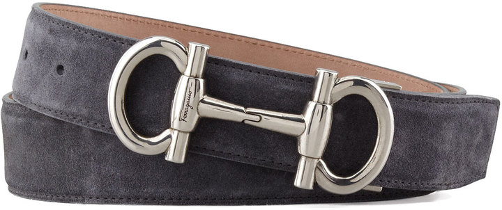 Salvatore Ferragamo Suede Double Gancini Belt, Gray