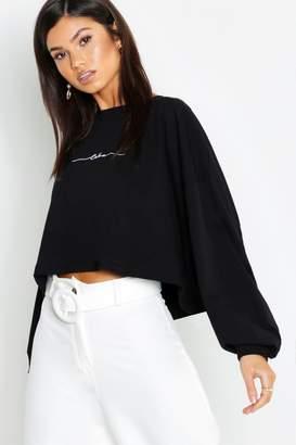 boohoo Cotton Slogan Embroidered Long Sleeve T-Shirt