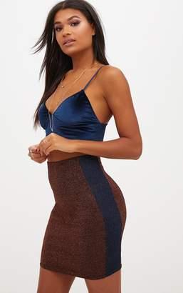 PrettyLittleThing Copper Metallic Contrast Panel High Waisted Mini Skirt