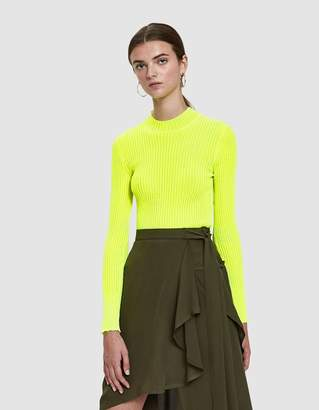 MSGM Ribbed Flo Knit Top in Citron