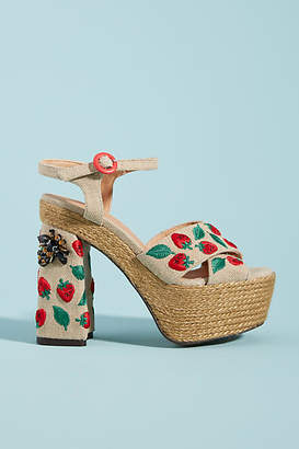 2447cfa653e0 Anthropologie Castaner Strawberry-Embellished Platform Sandals