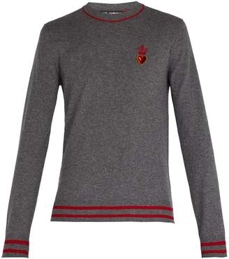 Dolce & Gabbana Heart and crown cashmere and wool-blend sweater